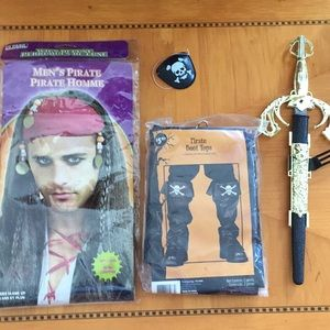 Men/ boy pirate costume accessories boots, wig,